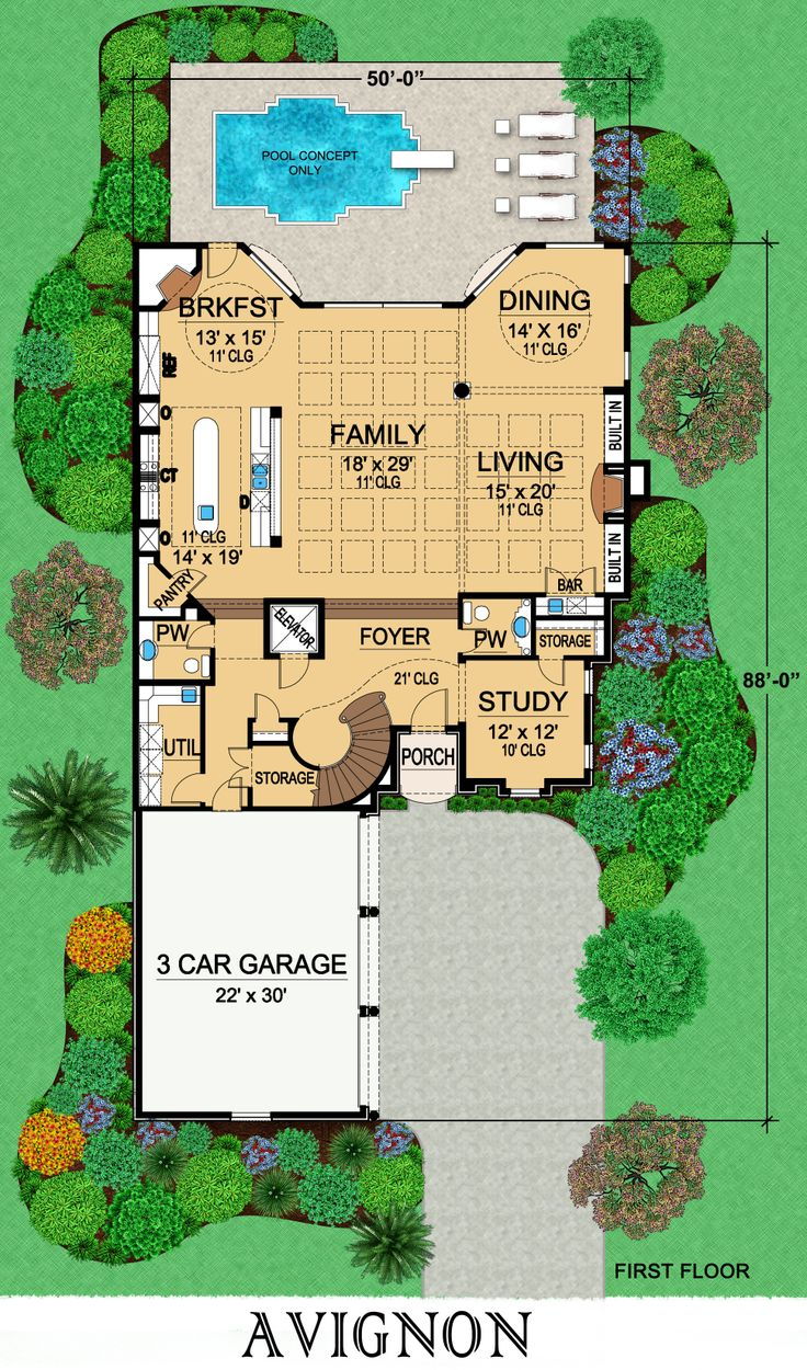 Avignon first floor plan from dallas design group for Dallas house plans