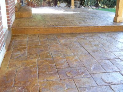 Stamped And Stained Concrete Patio Yard Pinterest