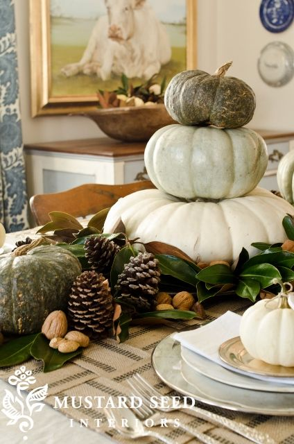 tiered pumpkin tablescape by @Melissa Henson Mustard Seed