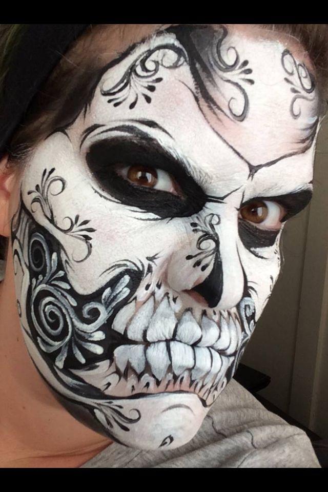Black & white sugar mask face paint | Fp Sugar skulls | Pinterest Sugar Skulls Face Paint Black And White
