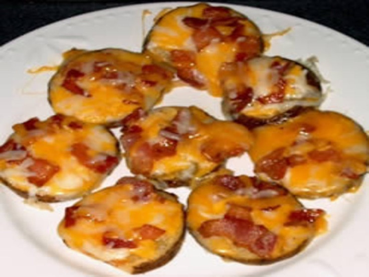 Bacon & Cheese Potato Rounds. Brush potatoes with melted butter (both ...