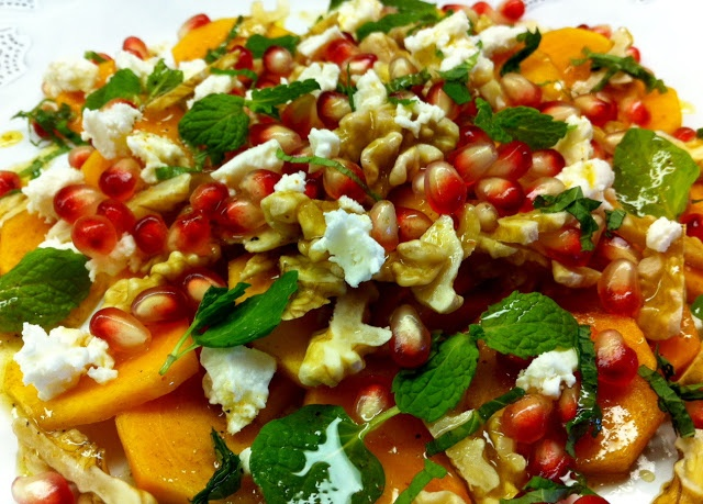 fall fruit salad: minted persimmon with pomegranate and feta cheese
