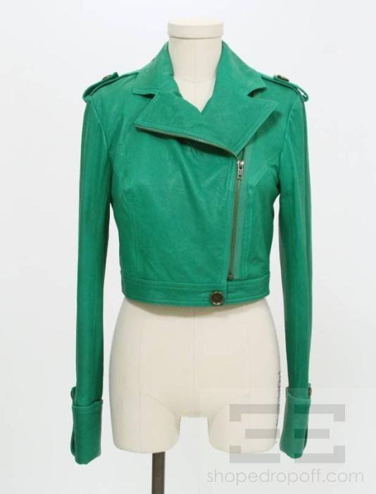 DVF Diane Von Furstenberg Poison Green Leather Cropped Alphie Jacket