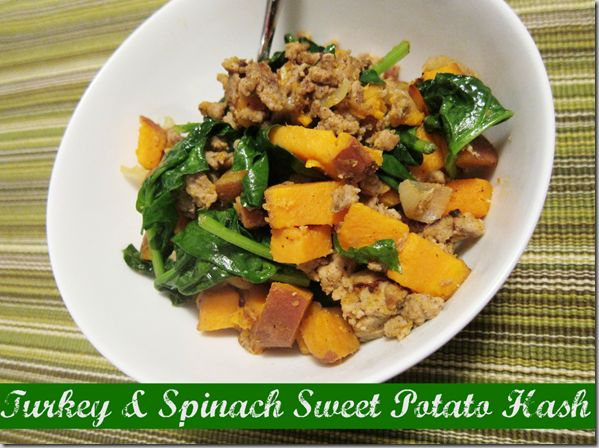 turkey & spinach sweet potato hash: it was good, but it needed salt ...