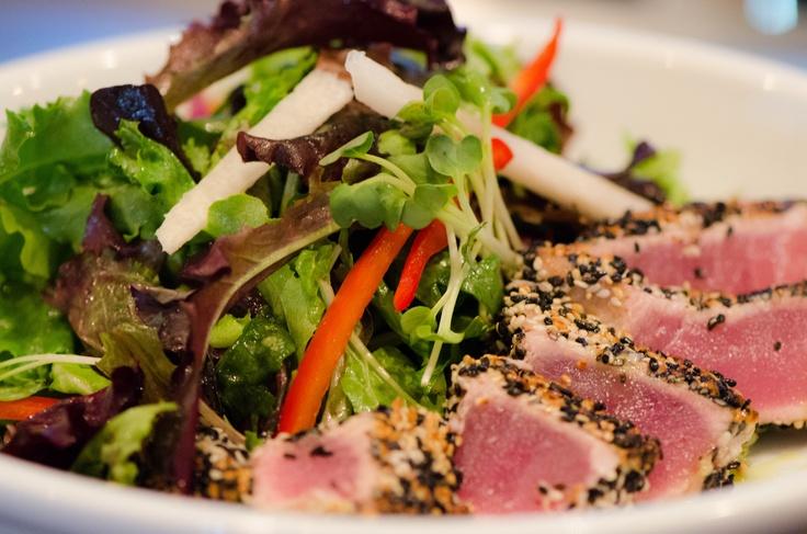 Seared Ahi Tuna Salad sesame crusted ahi tuna steak on a bed of ...