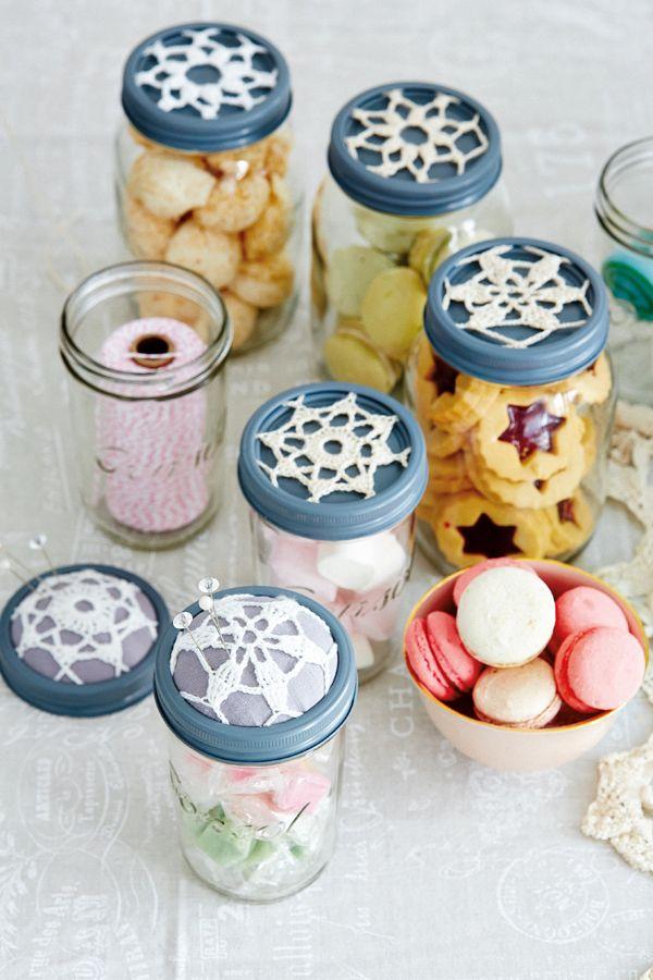 Crochet Patterns Jar Lids : Crocheted jar lid doilies Crocheting Pinterest