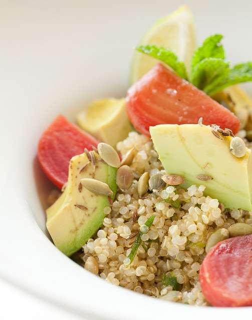 Quinoa Salad dressed in lime, scallion and mint, candy beets, avocado ...