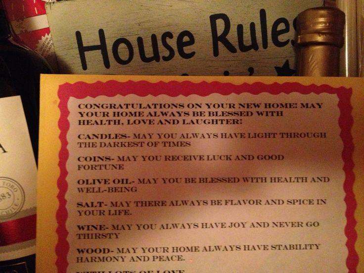 Housewarming poem.   Gift ideas   Pinterest