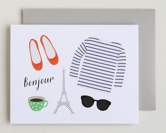 Paris - Bonjour Greeting Card
