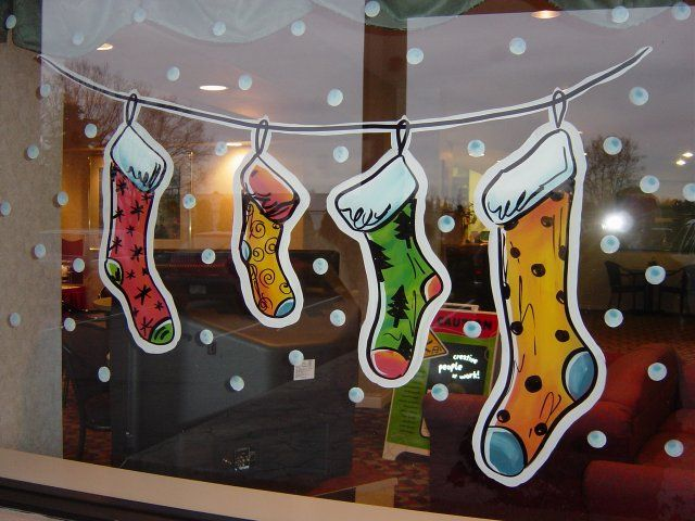 christmas stockings window painting window painting