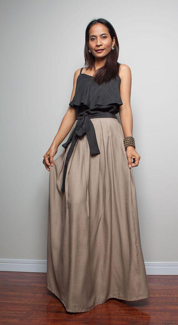 cotton skirt floor length skirt light brown maxi