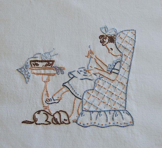 stitching girl