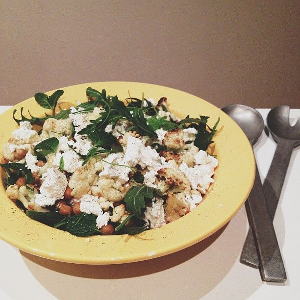 Lemon roasted chickpea and cauliflower with mint, parsley and feta
