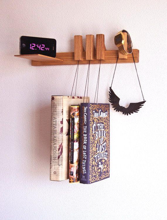 Nightstand in Oak. Floating bedside table. Hanging bedside rack.