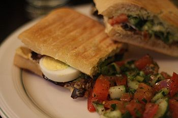 The Sabich (fried eggplant slices with hummus, hard-boiled egg ...