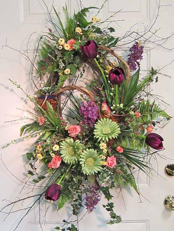 Xl Front Door Wreath Purple Tulips For Spring By