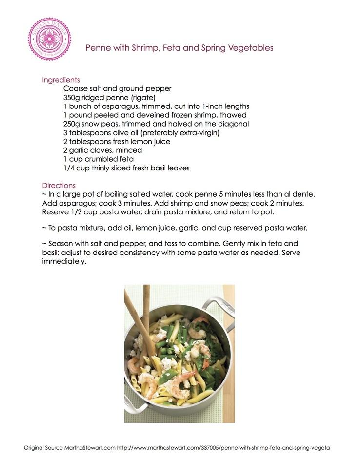 Penne with Shrimp, Feta, and Spring Vegetables