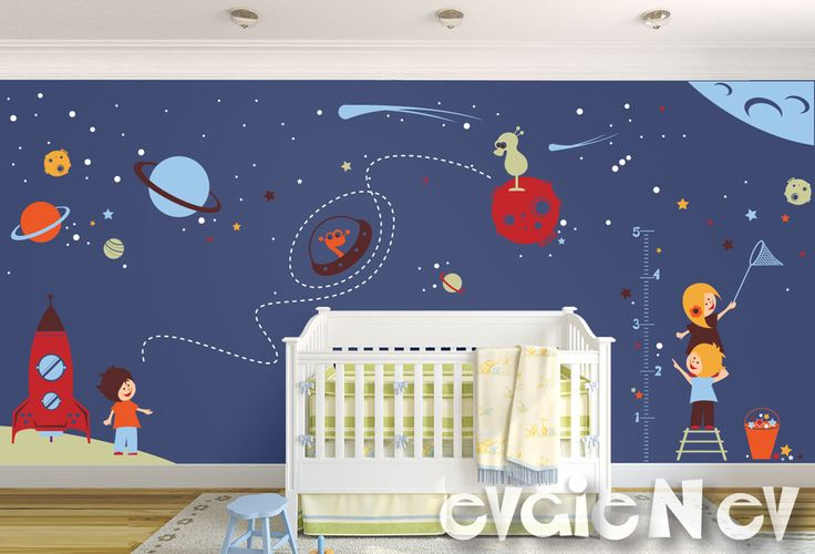 Large children wall decal nursery outer space theme with for Outer space theme