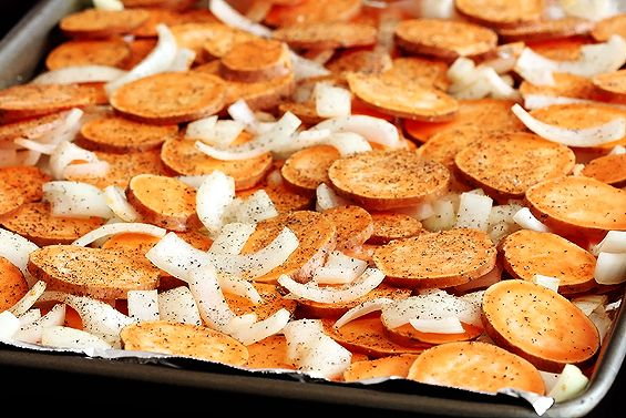 Roasted Sweet Potatos and Onions (the best)
