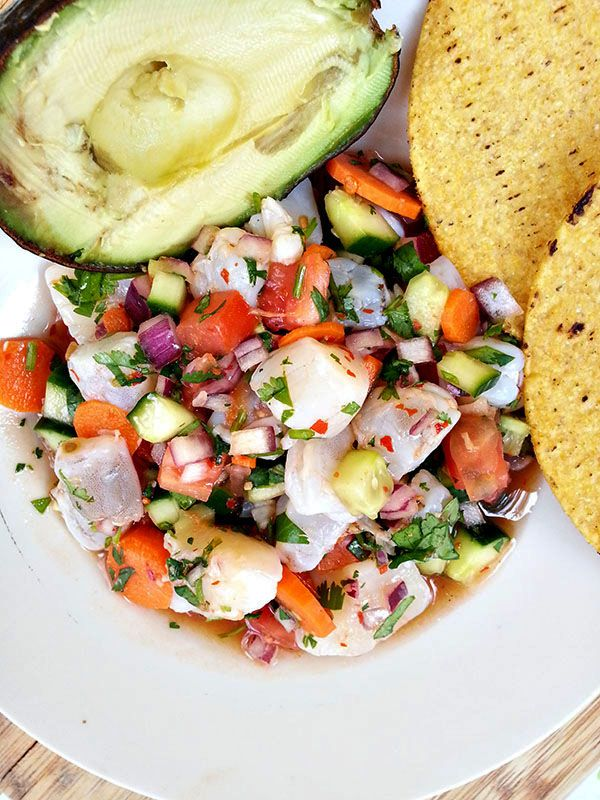 Ceviche with shrimp and scallops...a good clean eating recipe