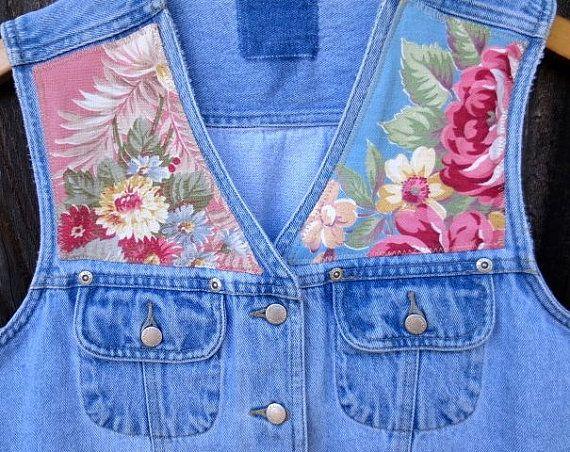 Upcycled Sleeveless Tattered Denim Jean Jacket by truevintagestyle