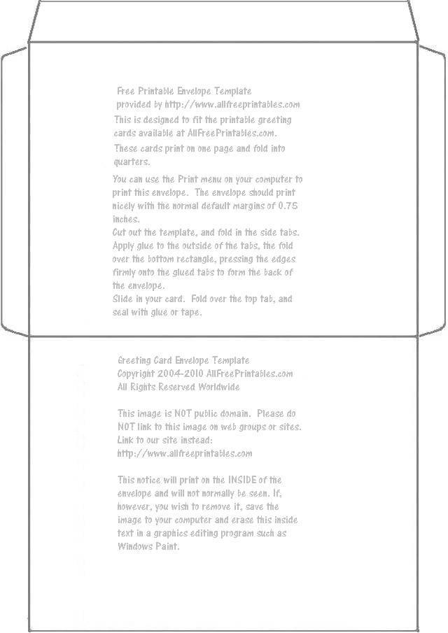 Printable card envelope template m4hsunfo
