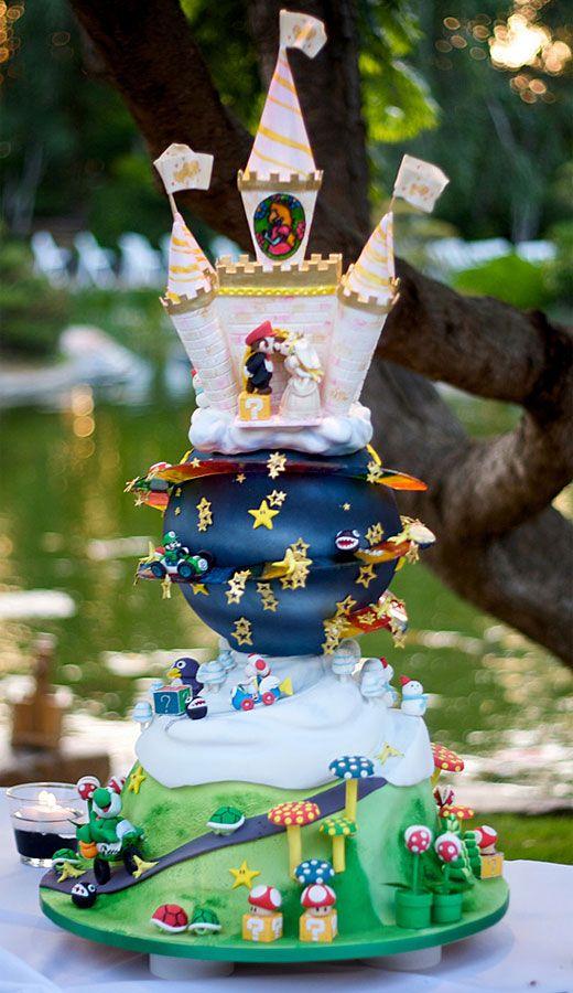 Mario And Princess Peach Wedding Cake Wedding Cakes Pinterest