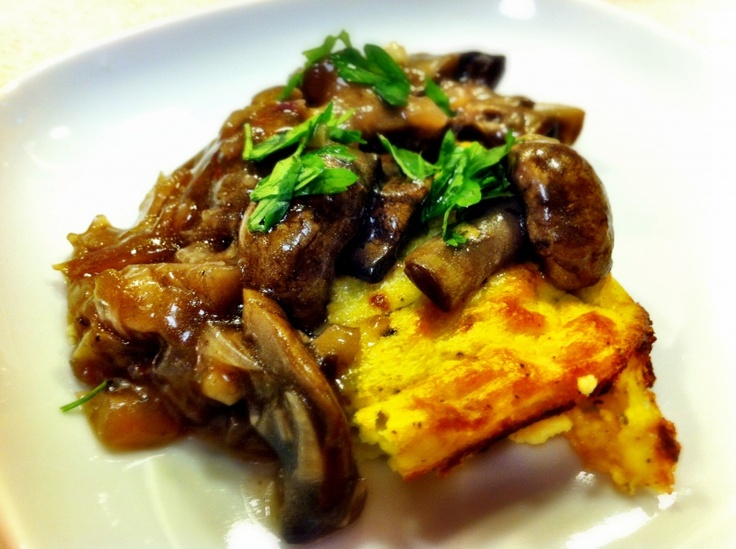Baked Polenta with Gouda and Braised Mushrooms