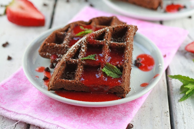 Double chocolate-chip waffles with strawberry sauce