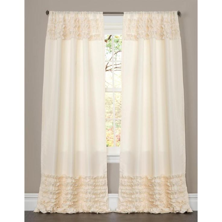 Lush Decor Skye Ivory Ruffled 84-inch Curtain Panel | Overstock.com