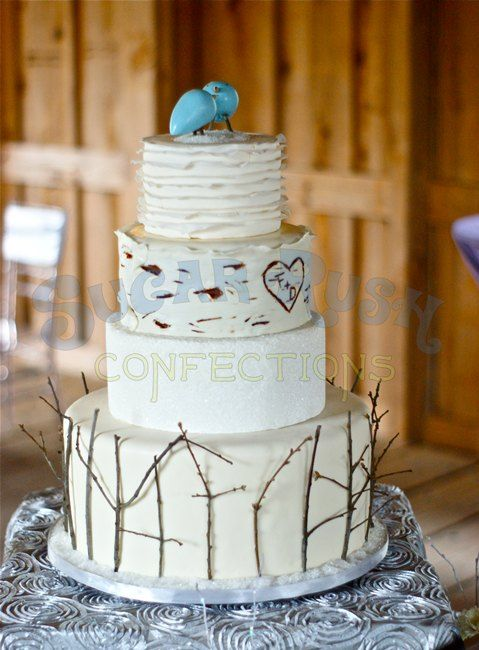 Adorable winter wedding cake by http://sugarrushconfections.com