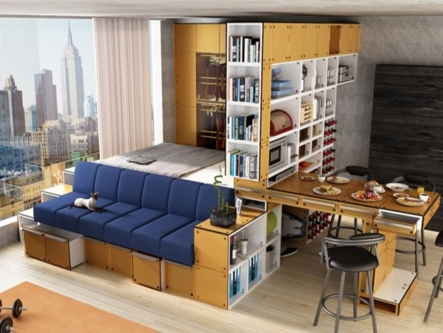 Space saving layout for NYC studio apartment. Love it.