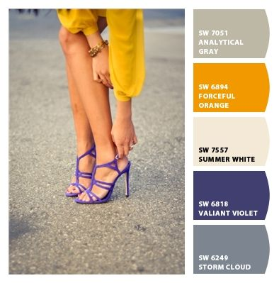 mustard, gray and purple
