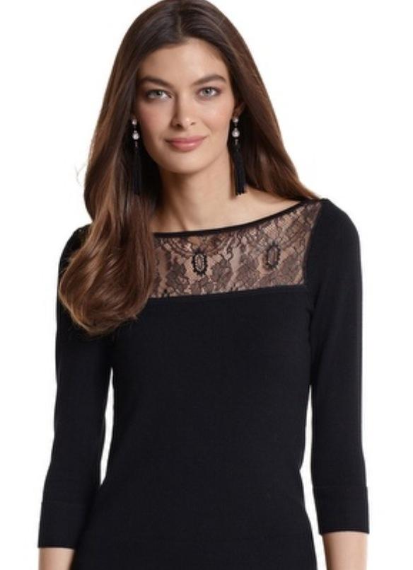 White House Black Market: 3/4 sleeve lace neck sweater.  http://m.whitehouseblackmarket.com