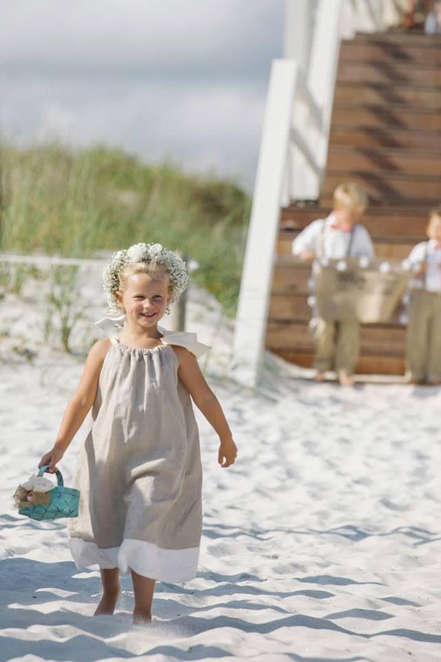 Burlap flower girl dress turquoise flower basket carillon for Flower girl dress for beach wedding