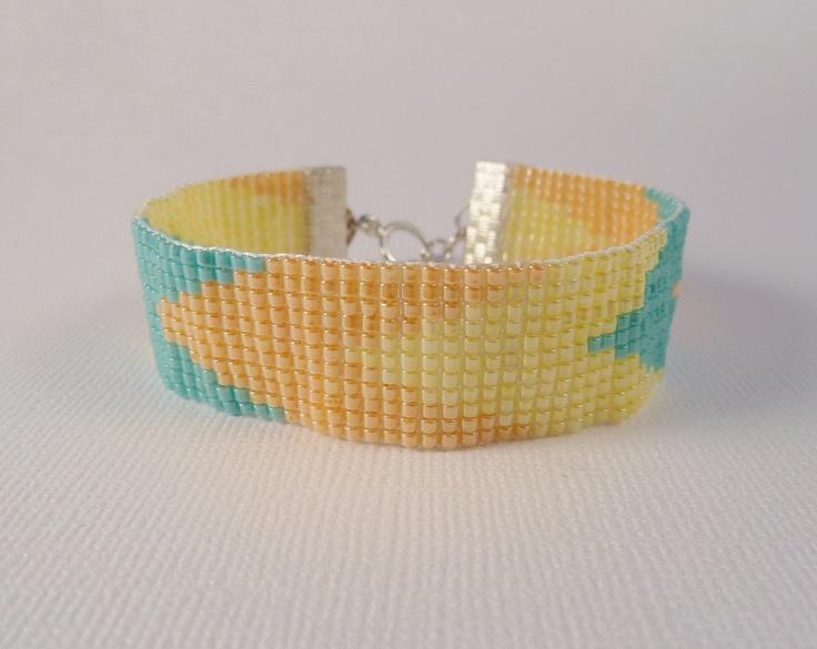 Beaded Tribal bracelet, in Sherbet, mint, orange, lemon chevrons