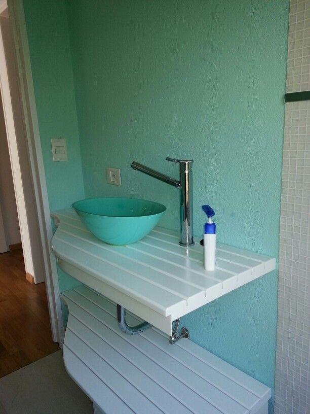 Bachas Para Baño Modernas:Baño con bacha y pared color aqua