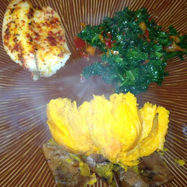 --broiled chili garlic tilapia, sautéed kale with garlic, shallots ...