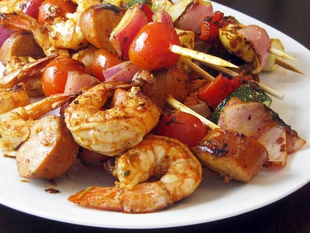 Grilled Shrimp and Sausage Skewers with Smokey Paprika Glaze