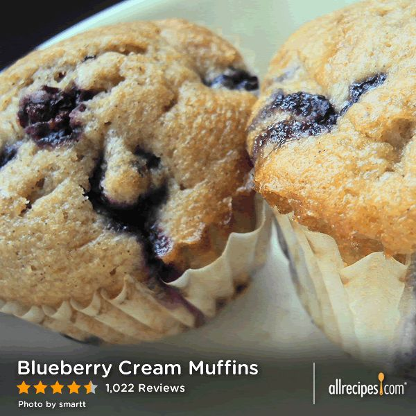 "Blueberry Cream Muffins | ""My family loves this recipe. It tastes ..."