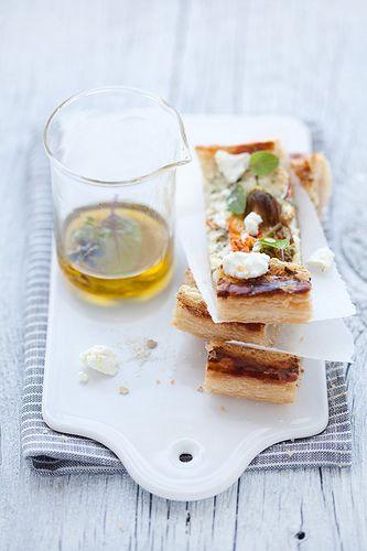zucchini blossom, goat cheese and herb tart