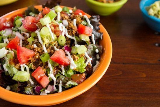 """Raw vegan taco salad! Taco """"meat"""" - Walnuts, cumin, chili powder ..."""