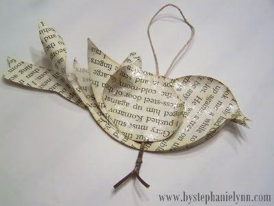 book page bird ornament