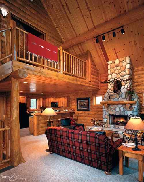 Log home fireplace lakehouse cabin tiny house pinterest Log homes interiors