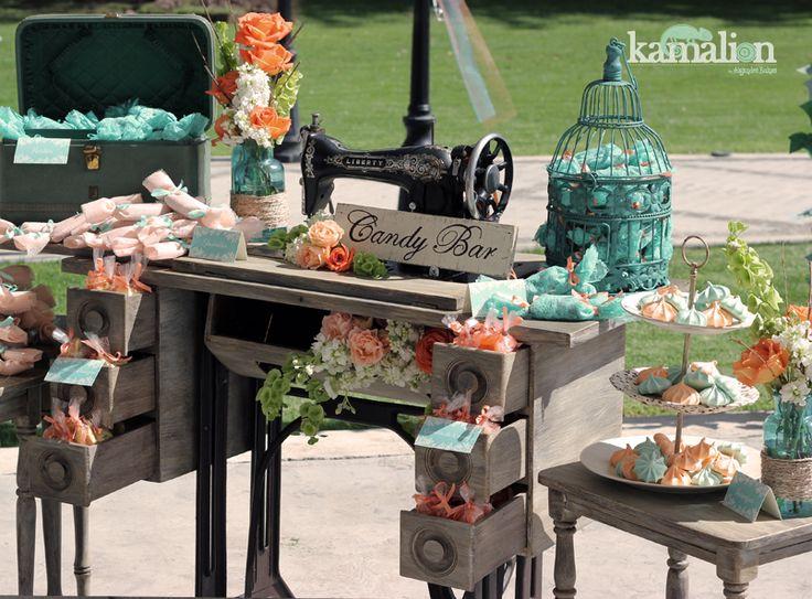Estilo Vintage Decoracion Boda ~   Vintage  Rustic  Wedding  Boda  Turquesa Naranja  Turquoise