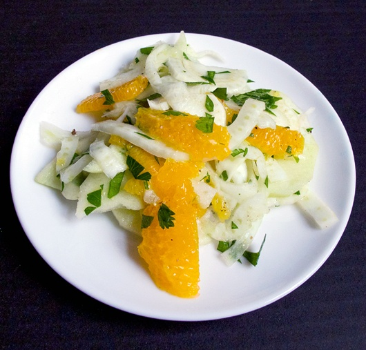 Fennel apple and orange salad with citrus vinaigrette