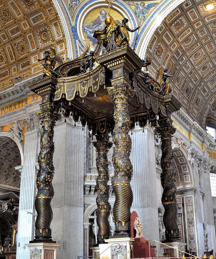 ITALIAN BAROQUE ARCHITECTURE  Bernini  The Baldacchino  inside st    Italian Baroque Architecture