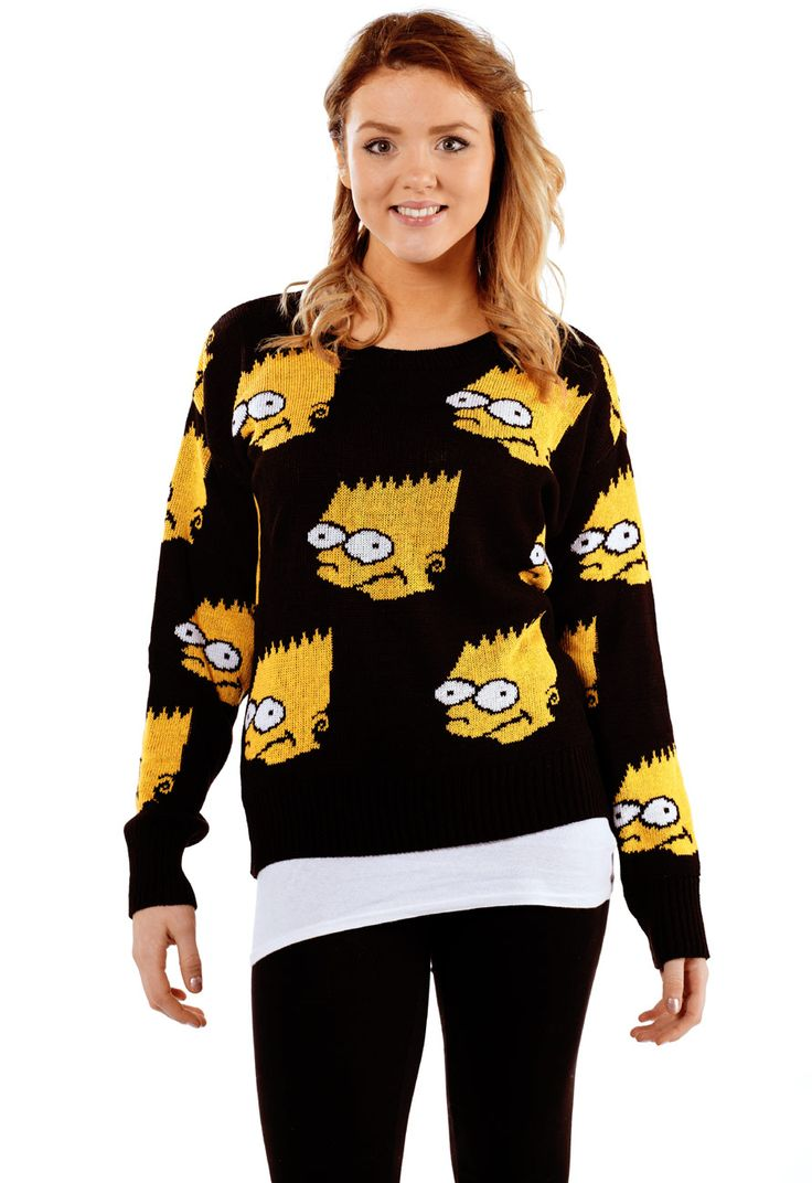 Bart Simpson Knitted Jumper - Womens Clothing Sale, Womens Fashion
