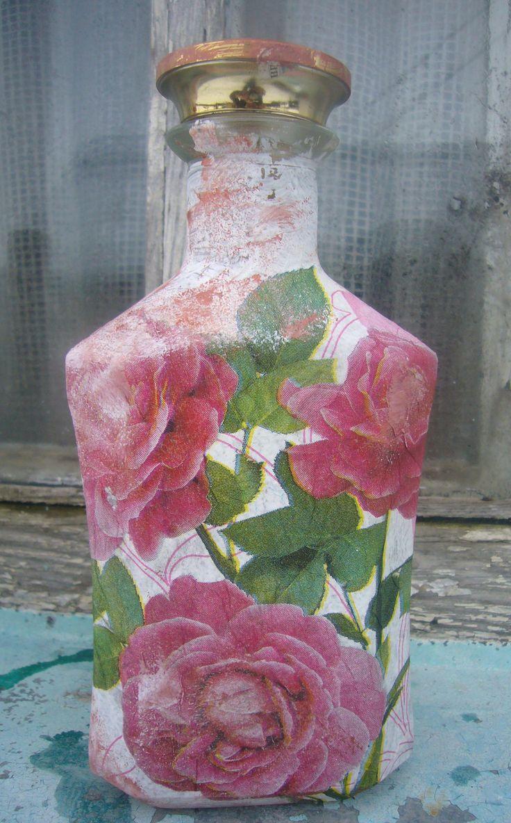 Decoupage bottles decoupage ideas pink rosebud glass for Glass bottle project ideas