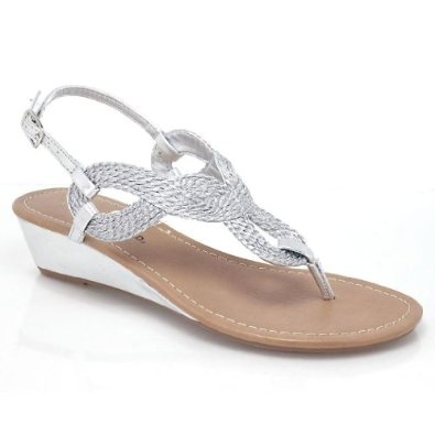 Braided Silver Wedge Sandals